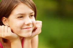 Closeup portrait of charming young female smiling Royalty Free Stock Photography