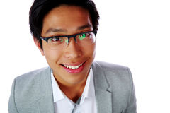 Closeup portrait of a cheerful asian man Stock Images