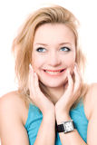 Closeup portrait of a cheerful attractive blonde Royalty Free Stock Photos