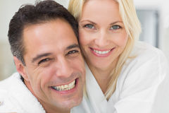 Closeup portrait of a cheerful woman and man Royalty Free Stock Images