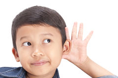 Closeup portrait child hearing something. Stock Photography