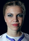 Circus performer. Closeup portrait of circus performer looking to the camera. Woman 23 years old. Caucasian Stock Photo