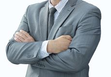 Closeup portrait of confident businessman in shirt and tie. Isolated on a white background Royalty Free Stock Photo