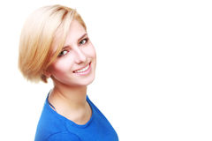 Closeup portrait of a confident cheerful woman Stock Photos