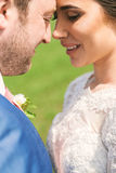 Closeup portrait of couple with closed eyes Royalty Free Stock Photo
