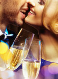 Closeup portrait of a couple drinking a champagne Royalty Free Stock Images