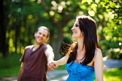 Closeup portrait of couple. Romantic young love couple in a park Royalty Free Stock Photos