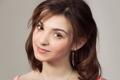 Closeup portrait cropped image on the face head of a woman. Natural beauty. Closeup portrait cropped image on the face head of a woman cute brunette teenage stock photography