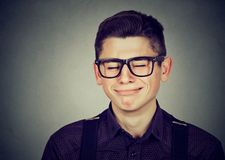 Closeup portrait of a crying teenager man. Closeup of a crying teenager man Stock Photos