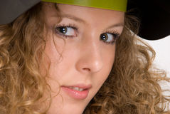 Closeup portrait of curly girl in welder mask Royalty Free Stock Photography