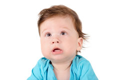 Closeup portrait of a cute baby Stock Photos