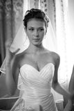 Closeup portrait of cute bride at home Stock Photography