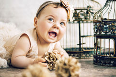 Closeup portrait of the cute child Royalty Free Stock Photos