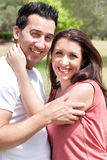 Closeup Portrait Of A Cute Couple Hugging Royalty Free Stock Image