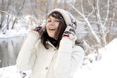 Closeup portrait of a cute girl walking outdoor Stock Image