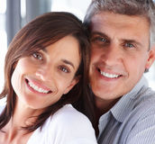 Closeup portrait of a cute handsome couple smiling Stock Images