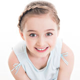 Closeup portrait of a cute happy little girl. Stock Image