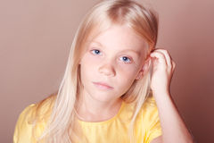 Closeup portrait of cute kid girl royalty free stock photography