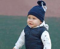 Closeup portrait of cute little boy stock photography