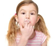 Closeup of Cute Little Girl Chewing Gum Stock Images