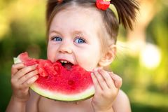 Closeup portrait of cute little girl eating watermelon on the grass in summertime royalty free stock images