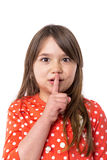 Closeup portrait of a cute little girl making silence Royalty Free Stock Images