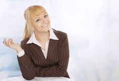 Closeup portrait of cute young blond woman Royalty Free Stock Images