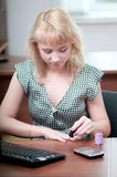 Closeup portrait of cute young business woman Royalty Free Stock Photos