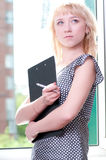 Closeup portrait of cute young business woman Royalty Free Stock Photo