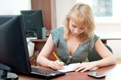 Closeup portrait of cute young business woman Stock Photography