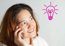 Closeup portrait of cute young business woman Stock Photos