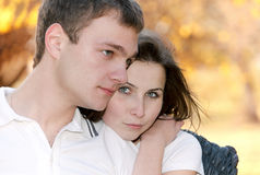 Closeup portrait of a cute young couple Stock Photo