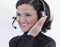 closeup portrait d'un centre d'appels des employés Images stock