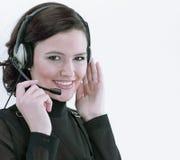 closeup portrait d'un centre d'appels des employés Photo libre de droits