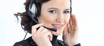 closeup portrait d'un centre d'appels des employés Photo stock