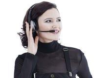 closeup portrait d'un centre d'appels des employés Image stock