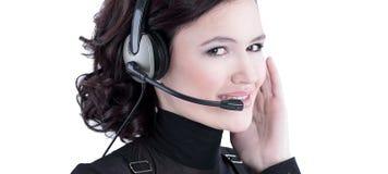 closeup portrait d'un centre d'appels des employés Photos stock