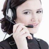 closeup portrait d'un centre d'appels des employés Photos libres de droits