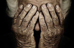 Closeup Portrait Depressed Old Woman Covering Her Face With Hand Stock Photography