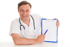 Closeup portrait of a doctor Stock Photos