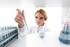 Closeup.portrait of doctor biologist in the lab. Photo with copy space Stock Photos