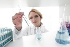Closeup.portrait of doctor biologist in the lab. Photo with copy space Royalty Free Stock Photo