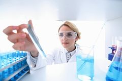 Closeup.portrait of doctor biologist in the lab. Photo with copy space Stock Images