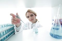 Closeup.portrait of doctor biologist in the lab. Photo with copy space Stock Photo