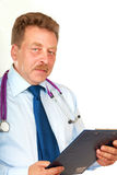Closeup portrait of a  doctor with stethoscope holding folder Royalty Free Stock Image