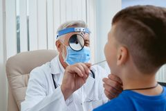 Closeup portrait of doctor working with patients. stock photography