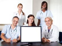 Closeup portrait of doctors in a meeting Stock Photo