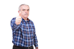 Closeup portrait of  elderly man showing thumb up Royalty Free Stock Photo