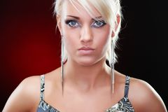 Closeup portrait of an elegant blonde beauty royalty free stock photos