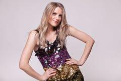 Closeup portrait elegant blonde in bright dress stock photos